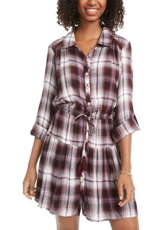 American Rag Juniors' Printed Roll-Sleeve Shirtdress, Created for Macy's