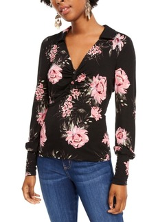 American Rag Juniors' Printed Ruched Blouson-Sleeve Top, Created for Macy's