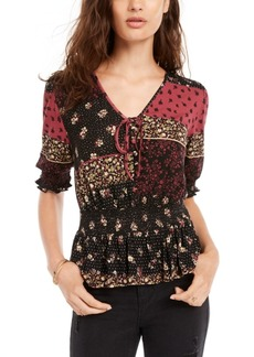 American Rag Juniors' Printed Smocked-Waist Peplum Top, Created for Macy's