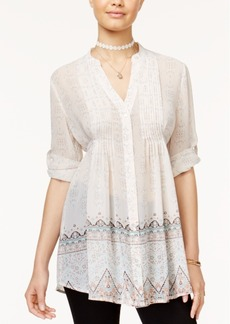American Rag Juniors' Printed Tie-Back Blouse, Created for Macy's