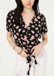 American Rag Juniors' Printed Tie-Front Top, Created for Macy's