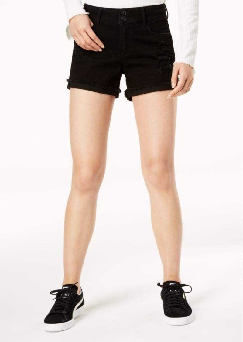 American Rag Juniors' Ripped Cuffed Black Denim Shorts, Created for Macy's