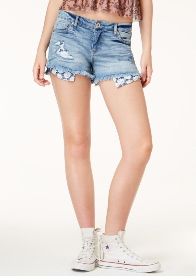 American Rag Juniors' Ripped Exposed-Pocket Denim Shorts, Created for Macy's