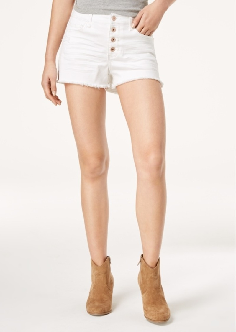 American Rag Juniors' Ripped Raw-edged White Wash Denim Shorts, Created for Macy's