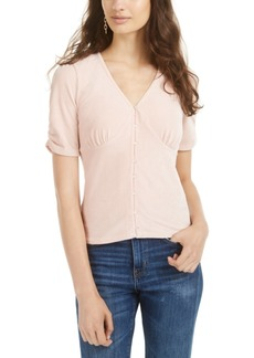 American Rag Juniors' Ruched-Sleeve Rib-Knit Velvet Top, Created for Macy's