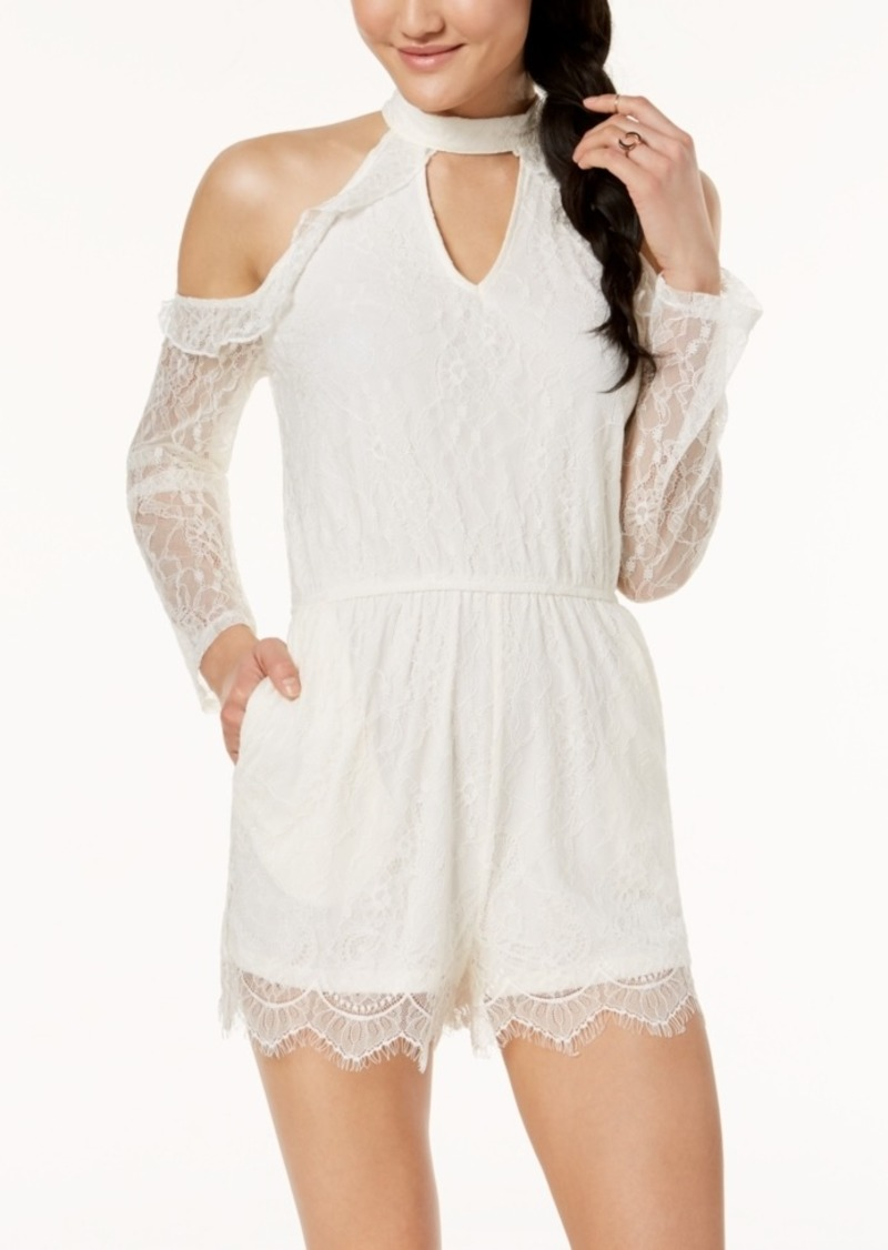 American Rag Juniors' Ruffled Cold-Shoulder Lace Choker Romper, Created for Macy's