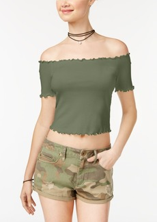 American Rag Juniors' Ruffled Off-The-Shoulder Crop Top, Created for Macy's