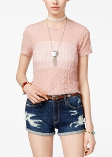 American Rag Juniors' Sheer Cropped Lace T-Shirt, Created for Macy's