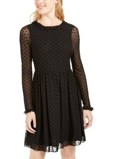 American Rag Juniors' Sheer Polka Dot Tie-Back Dress