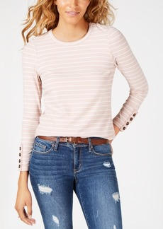 American Rag Juniors' Striped Button-Cuff Top, Created for Macy's