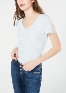American Rag Juniors' Striped Embellished T-Shirt, Created for Macy's