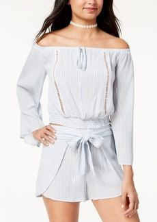 American Rag Juniors' Striped Off-The-Shoulder Crop Top, Created for Macy's