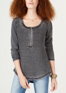 American Rag Juniors' Thermal Henley Top, Created for Macy's