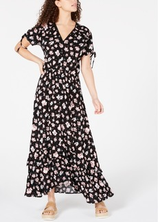 American Rag Juniors' Tie-Sleeve Floral Maxi Dress, Created for Macy's