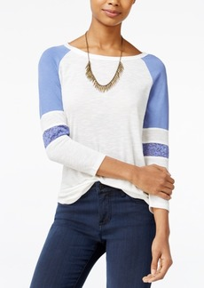 American Rag Lace-Inset Baseball T-Shirt, Only at Macy's