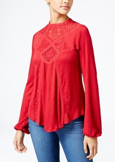 American Rag Lace-Inset High-Low Peasant Top, Only at Macy's