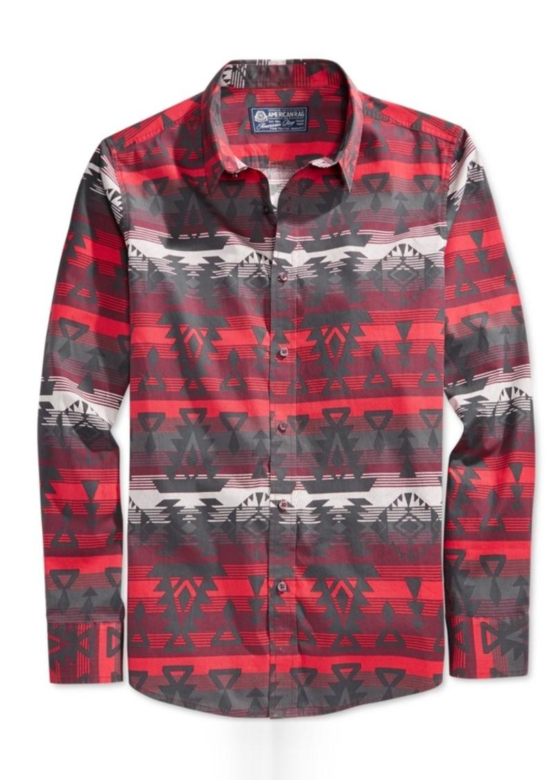 American Rag Men's Aztec-Print Long-Sleeve Shirt, Only at Macy's