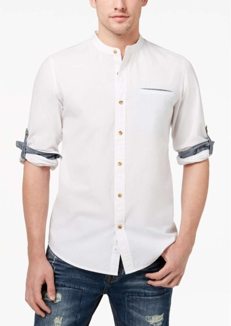 Banded Collar Shirt Mens