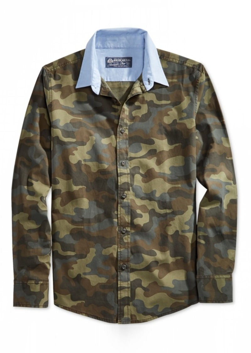 American Rag Men's Contrast-Collar Camo Long-Sleeve Shirt, Only at Macy's