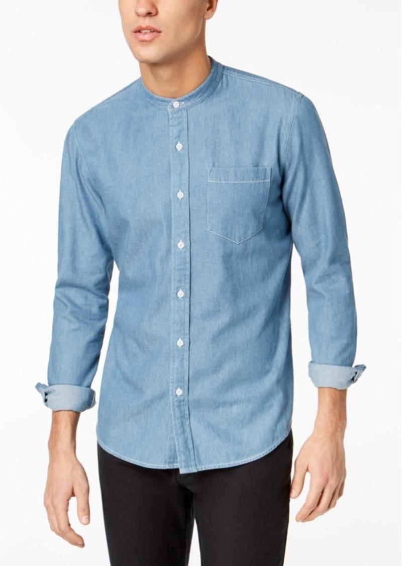 American Rag Men's Denim Banded Collar Shirt, Created for Macy's