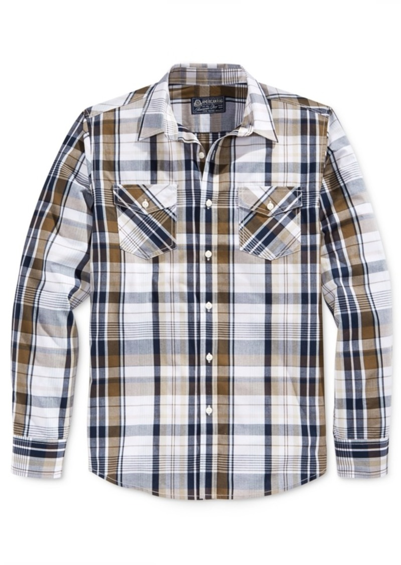 American Rag Men's Dual-Pocket Plaid Long-Sleeve Shirt, Only at Macy's