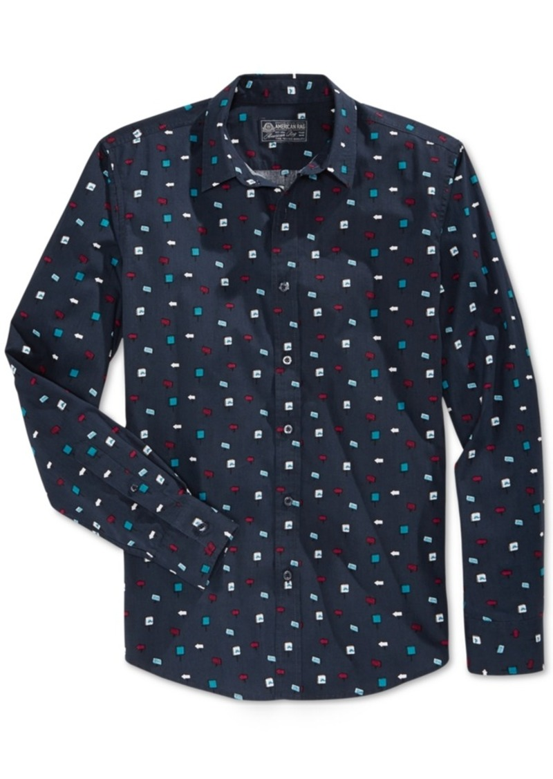 American Rag Men's Geometric-Print Long-Sleeve Shirt, Only at Macy's