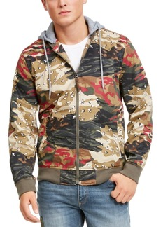 American Rag Men's Juxtaposed Camo Bomber Hoodie, Created For Macy's