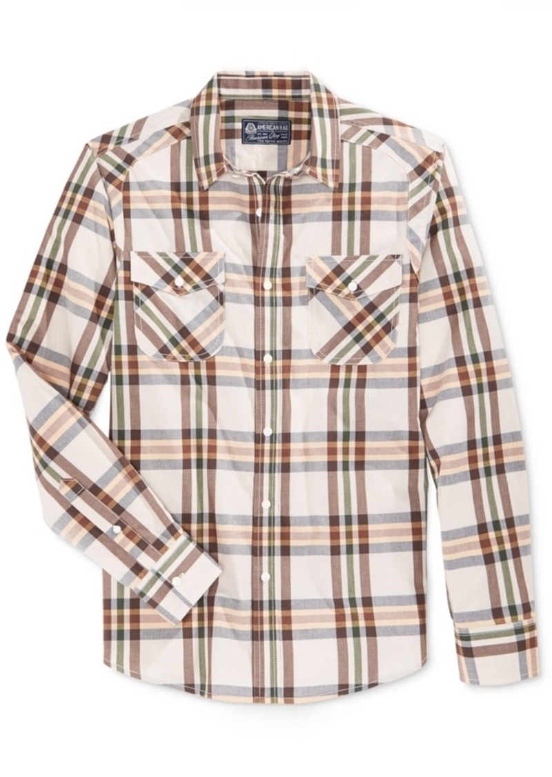 American Rag Men's Long-Sleeve Plaid Shirt, Only at Macy's