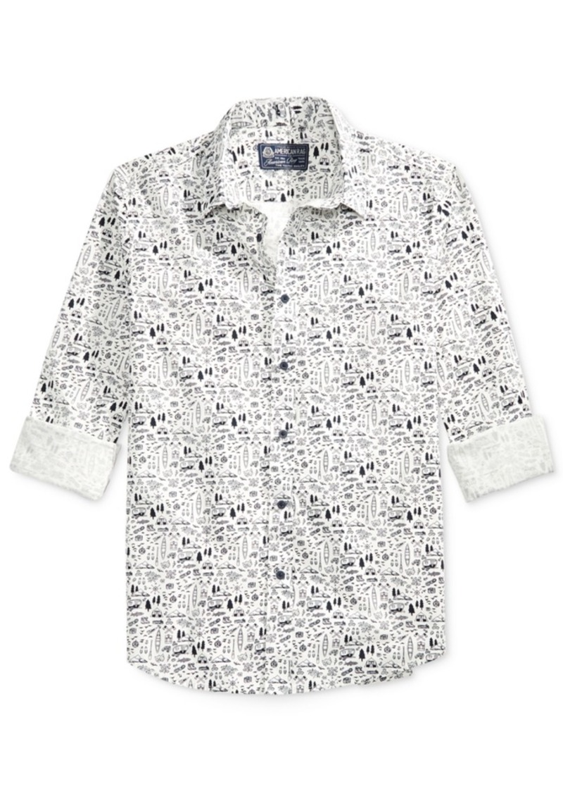 American Rag Men's Printed Long-Sleeve Shirt, Only at Macy's