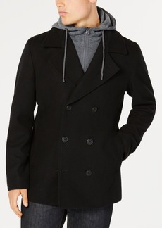 American Rag Men's Regular Fit Fleece Peacoat with Hooded Sweatshirt Bib, Created for Macy's