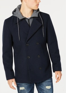 American Rag Men's Regular Fit Twill Fleece Peacoat with Hooded Sweatshirt Bib, Created for Macy's