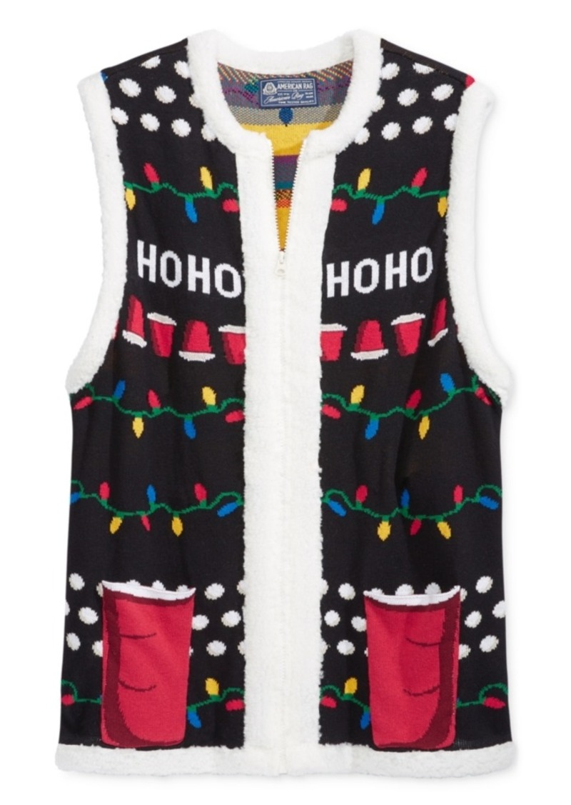 American Rag American Rag Men's Holiday Sweater Vest with Sherpa ...