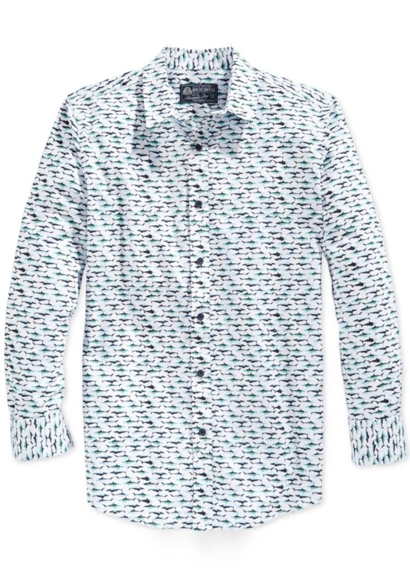American Rag Men's Shark-Print Long-Sleeve Shirt, Only at Macy's