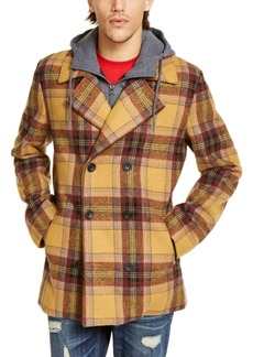 American Rag Men's Sheridan Double-Breasted Plaid Peacoat with Removable Hooded Bib, Created For Macy's