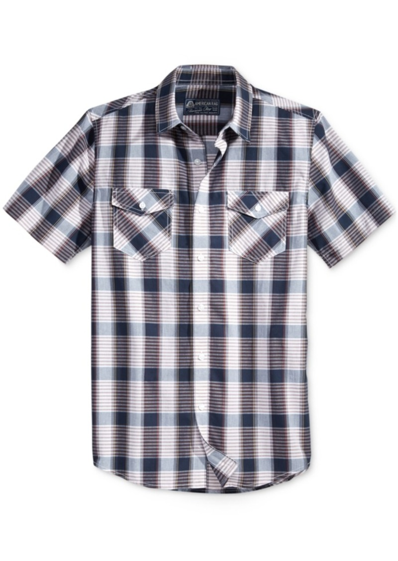 American Rag Men's Short-Sleeve Plaid Shirt, Only at Macy's