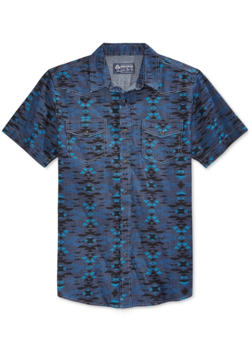 American Rag Men's Short-Sleeve Southwest-Print Shirt, Only at Macy's