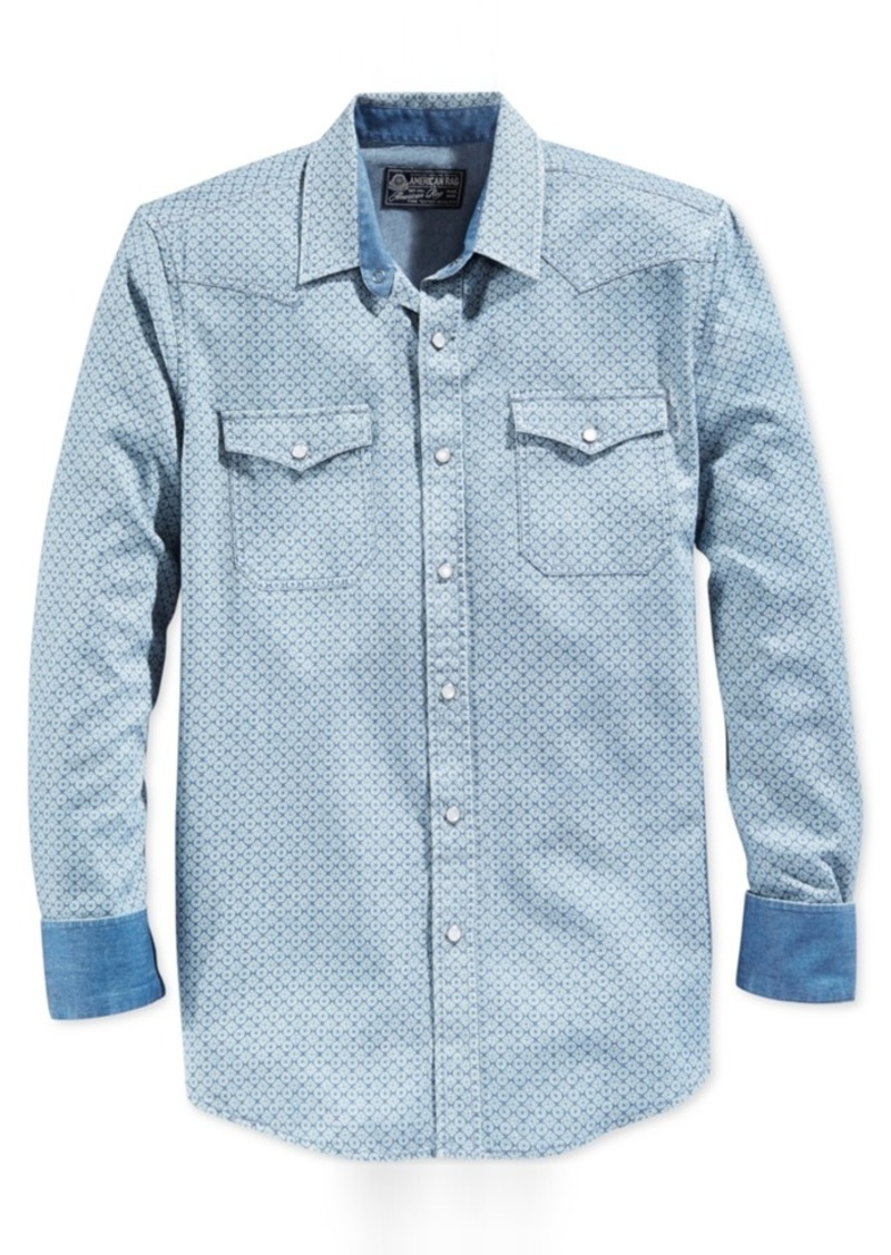 American Rag Men's Snap-Front Geometric-Print Long-Sleeve Shirt, Only at Macy's