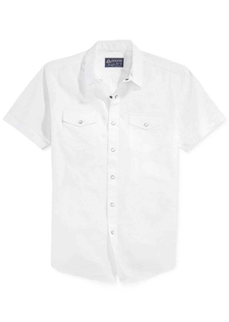 American Rag Men's Solid Short Sleeve Shirt, Created for Macy's