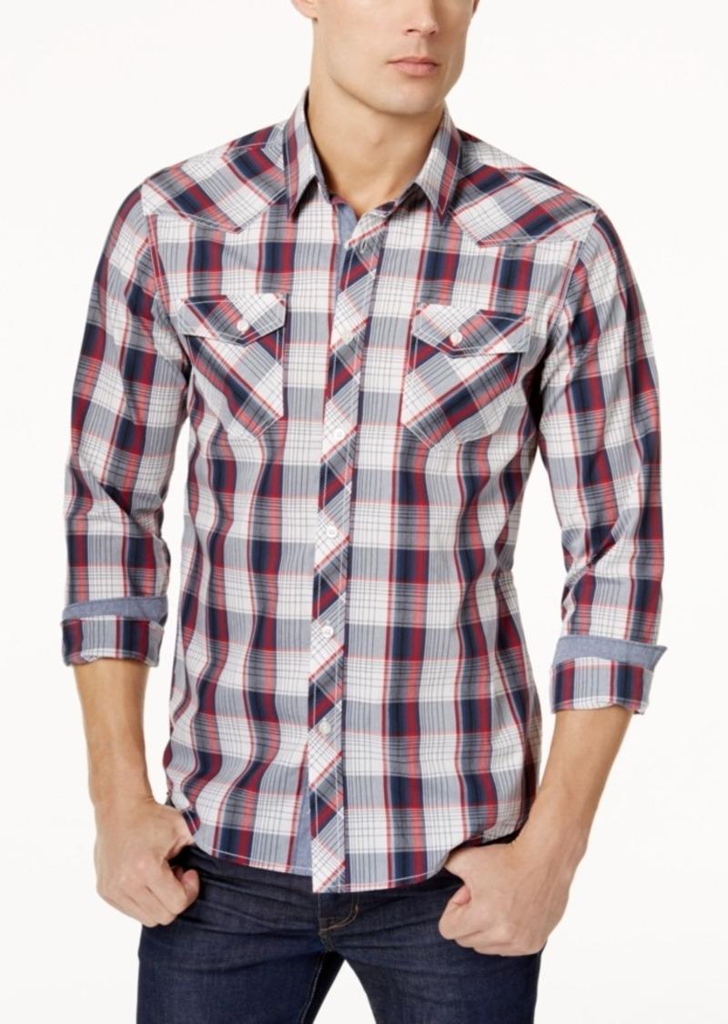 American Rag Men's Western Plaid Long Sleeve Shirt, Created for Macy's