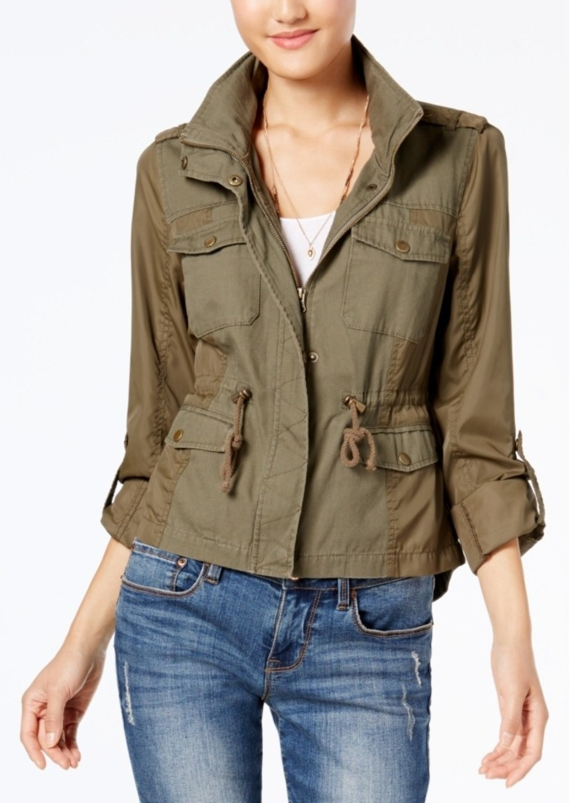 American Rag Mixed-Media Military Parka, Created for Macy's