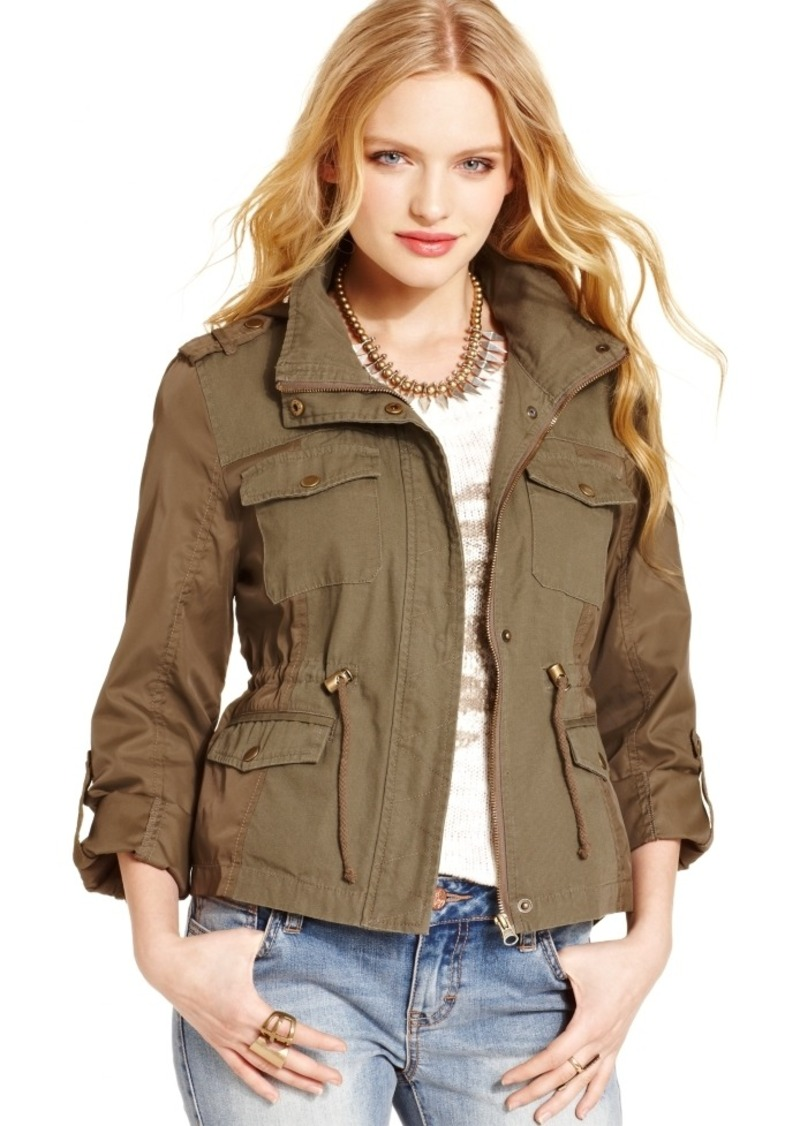 American Rag Mixed-Media Military Parka, Only at Macy's