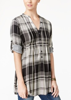 American Rag Plaid Pintucked Blouse, Only at Macy's