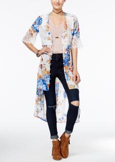 American Rag Printed Crochet-Trim High-Low Kimono, Only at Macy's