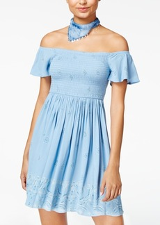 American Rag Printed Off-The-Shoulder Fit & Flare Dress, Created for Macy's