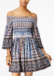 American Rag Printed Off-The-Shoulder Fit & Flare Dress, Only at Macy's