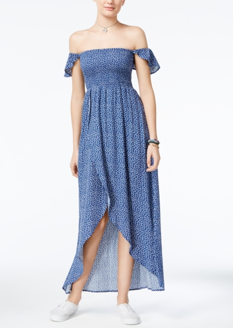 American Rag American Rag Printed Off-The-Shoulder Tulip-Hem Maxi ...