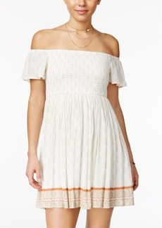 American Rag Printed Smocked Off-The-Shoulder Dress, Only at Macy's