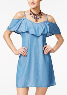 American Rag Denim Ruffled Cold-Shoulder Dress, Only at Macy's