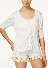American Rag Juniors' Smocked High-Low Peasant Top, Created for Macy's