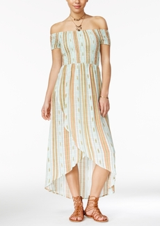 American Rag Striped Off-The-Shoulder Tulip-Front Maxi Dress, Only at Macy's